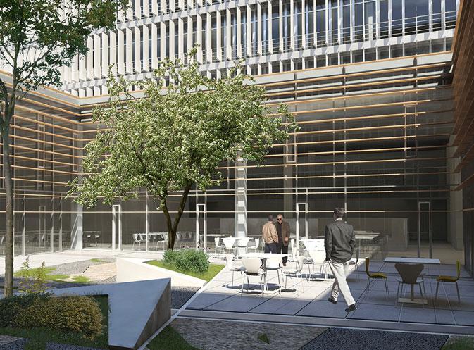Muro cortina de madera realizado con vigas de madera de roble de uso estructural para sumar belleza a la sostenibilidad en esta fachada ligera en el secretariado del Parlamento Europeo de Luxemburgo.