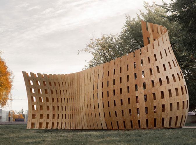 Nuevos usos de la madera laminada en Wander Wood Pavilion