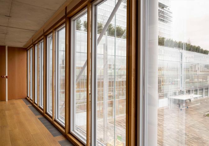 Detalle de la aplicación muro cortina de madera con vigas laminadas de roble en la nueva sede del colegio de abogados de París diseñada por Renzo Piano. Vista desde dentro. Construido con la viga laminada de roble VIGAM de Grupo Gámiz