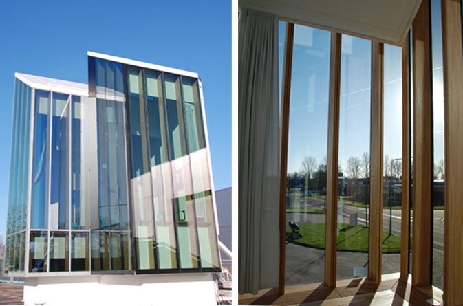 Aplicación muro cortina de madera en la fachada sostenible de Herzog & de Meuron en el proyecto Cambridge UK